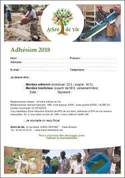 Bulletin d'adhésion à l'association arbre de vie - vignette